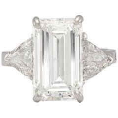 Stunning GIA 6.23 Carat G/SI2 Emerald Cut Diamond Ring