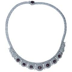 Burma Ruby Diamond Necklace Set in 18 Karat White Gold