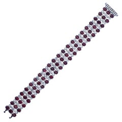 Ruby Diamond Bracelet Set In 18 Karat White Gold