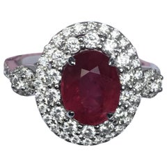Ruby Diamond Ring Set in 18 Karat White Gold