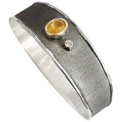 Yianni Creations 1.25 Carat Citrine Diamond Fine Silver Rhodium Bangle Bracelet