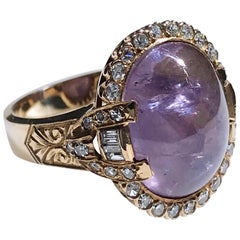 Purple Star Sapphire and Diamond Ring, 14.30 Carat Sapphire, 0.44 Carat Diamonds