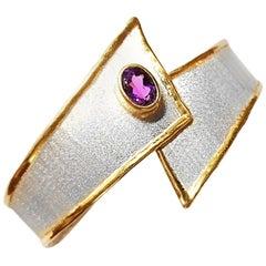 Yianni Creations 1.75 Carat Amethyst Fine Silver and 24 Karat Gold Bracelet