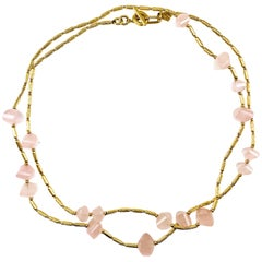 David Yurman Rose Quartz and 18 Karat Gold Necklace