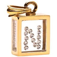 Incogem Floating Diamond Pendant: 14k Yellow Gold (Letter N)