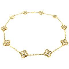 Designer Estate Van Cleef & Arpels Alhambra Diamond Necklace 18 Karat Gold