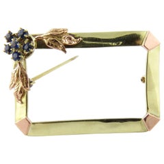 Antique 14 Karat Yellow and Rose Gold Sapphire Frame Brooch