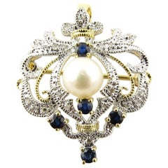 14 Karat White and Yellow Gold Diamond, Sapphire and Pearl Brooch or Pendant