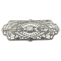 10 Karat White Gold and Diamond Brooch or Pin