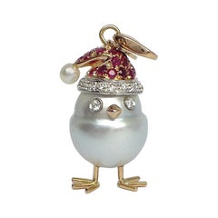 Ruby White Diamond 18 Kt Gold Pearl Christmas Chick Charm and Pendant/Necklace