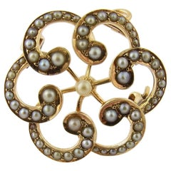 14 Karat Yellow Gold and Seed Pearl Brooch Pendant