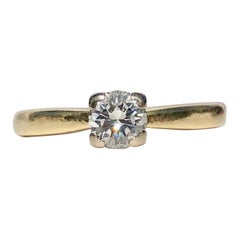 White Round Brilliant Cut Solitaire Diamond Engagement Ring .41cts Cert 18k Gold