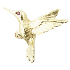 14 Karat Yellow Gold and Ruby Hummingbird Brooch or Pin