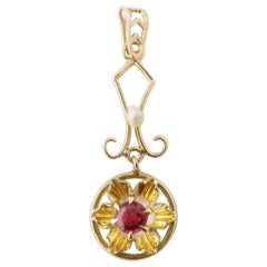 10 Karat Yellow Gold Ruby and Pearl Pendant