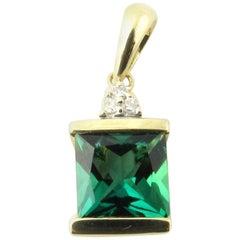 10 Karat Yellow Gold Imitation Emerald and Diamond Pendant
