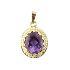 14 Karat Yellow Gold Amethyst and Seed Pearl Pendant