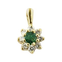 14 Karat Yellow Gold Diamond and Emerald Pendant