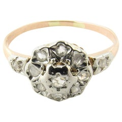 18 Karat Yellow Gold and Sterling Silver Diamond Ring
