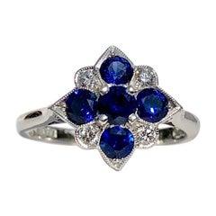 Blue Sapphire and Round White Diamond 18 Karat Art Deco Style Engagement Ring