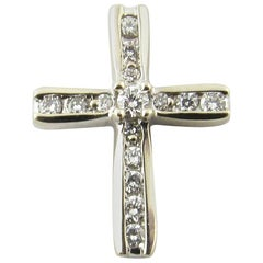 10 Karat White Gold and Diamond Cross Pendant