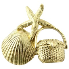 14 Karat Textured Yellow Gold Starfish
