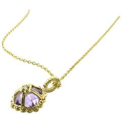 14 Karat Yellow Gold Amethyst and Diamond Pendant Necklace