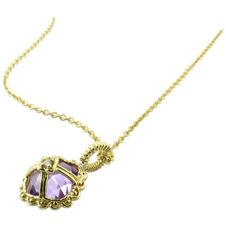 14 Karat Yellow Gold Amethyst and Diamond Pendant Necklace