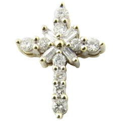 10 Karat White Gold Diamond Cross Pendant