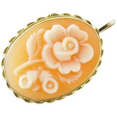 14 Karat Yellow Gold Rose Cameo Brooch or Pendant