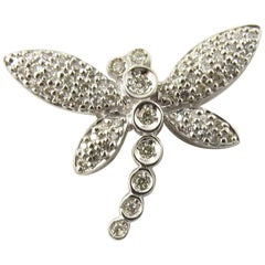 14 Karat White Gold Diamond Dragonfly Pendant