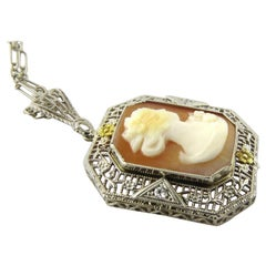 Antique Early Art Deco 14K White and Yellow Gold Filigree Cameo Pendant with Cha