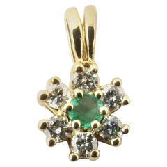 10 Karat Yellow Gold Emerald and Diamond Pendant