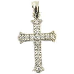 14 Karat White Gold Diamond Cross Pendant