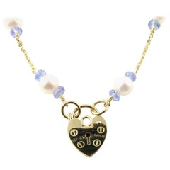 14 Karat Yellow Gold Pearl and Blue Bead Necklace