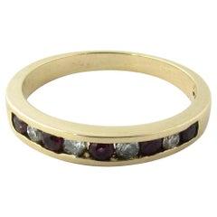 14 Karat Yellow Gold Ruby and Diamond Wedding Band