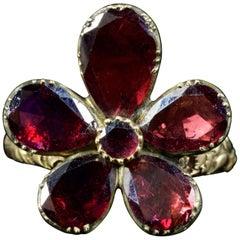 Antique Georgian Flat Cut Garnet Flower Ring 18 Carat Gold, circa 1880