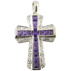 14 Karat White Gold Amethyst and Diamond Cross Pendant