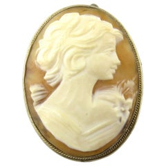 Antique Victorian 800 Silver Cameo Brooch or Pendant