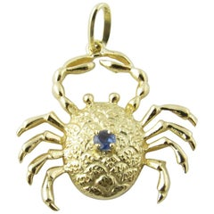 14 Karat Yellow Gold and Sapphire Crab Pendant