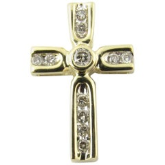 14 Karat Yellow Gold Diamond Cross Pendant