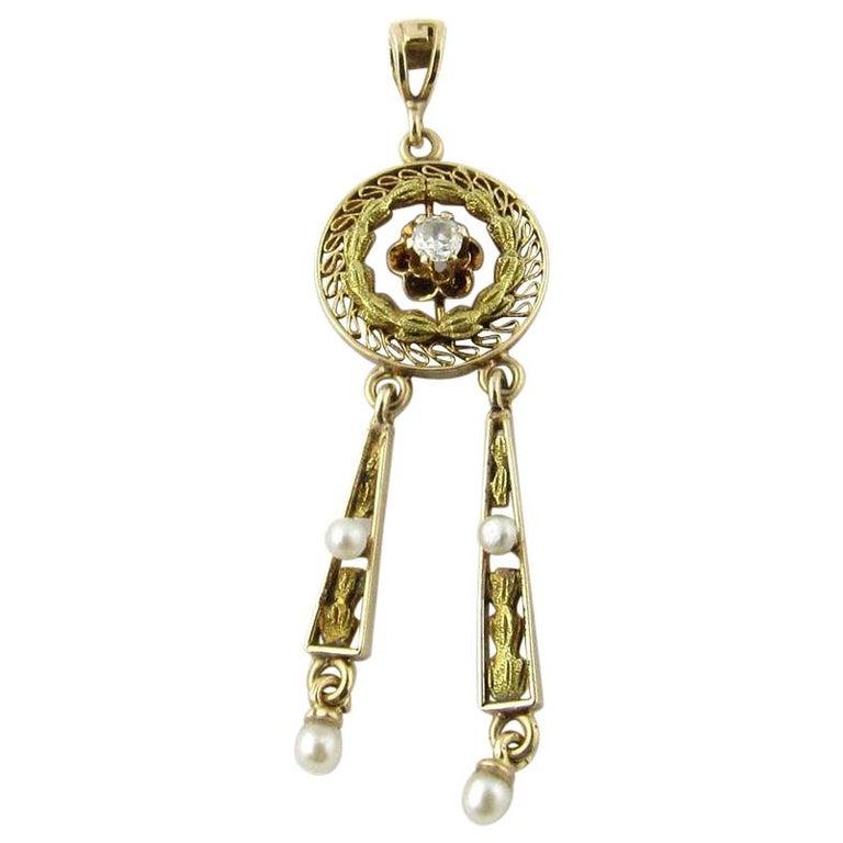 Antique Victorian 10 Karat Yellow Gold Seed Pearl and Diamond Pendant