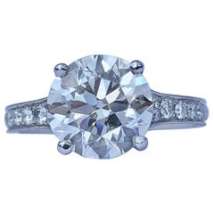 Brilliant Cut White Diamond Solitaire Platinum Engagement Ring Under Halo 3.41ct