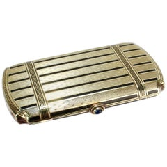 Art Deco 14 Karat Gold and Enamel Ladies Cigarette Case