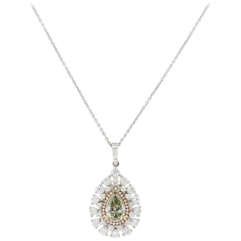 GIA Certified Pear Shape Diamond Pendant Necklace