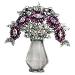 Art Deco Rock Crystal Ruby Diamond Platinum Brooch