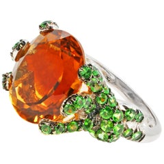 7.70 Carat Citrine Green Tsavorite Diamond White Gold Medusa Snake Ring