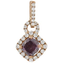 GIA Certified Fancy Pink Purple Diamond Pendant