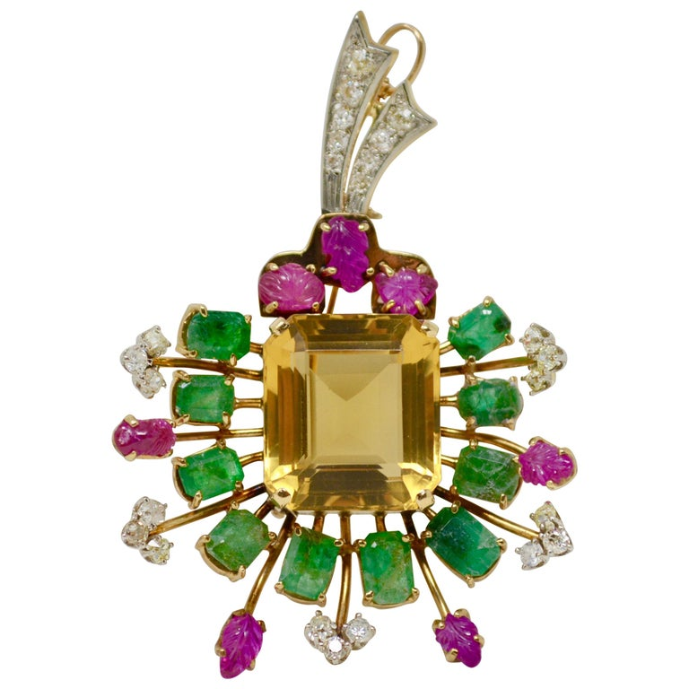 Natural Ruby, Emerald, Citrine and Diamond Broach or Pendant in 18 Karat Gold