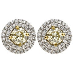 1.37 Carat Natural Yellow Diamond Earrings