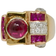 Natural Ruby and Diamond Ring in 18 Karat Yellow Gold